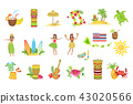 Hawaiian Vacation Set Of Classic Symbols 43020566