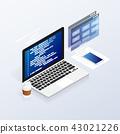 programmer coding binary computer isometric vector 43021226