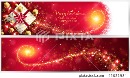 Christmas red banner with golden magic stardust 43021984
