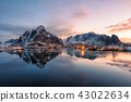 Fishing village with snow mountain at sunrise 43022634