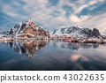 Mountain range reflection on arctic ocean 43022635