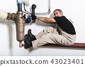 Plumber near water pipes opening water tap 43023401