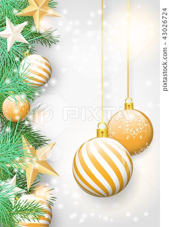 Christmas background with and yellow ornaments 43026724