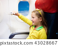 Child flying in airplane. Flight with kids. 43028667