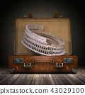 Trip to Rome.  Coliseum and vintage suitcase 43029100