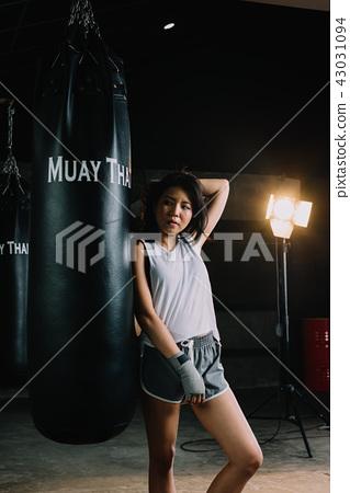 Boxing series: Female Asian Muay Thai boxer 43031094