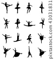 Black silhouettes of ballerinas 43031831