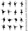 ballerina, silhouette, dancer 43031832