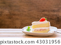 cake with cream and strawberries 43031956