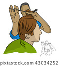 hairdresser does the hair styling in barber shop 43034252
