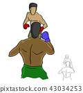 Two professional boxers fighting in the ring 43034253