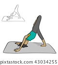 Woman practicing yoga on a gray mat vector  43034255