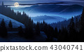 ocean of fog in forested valley at night 43040741