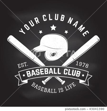 Baseball club badge on the chalkboard. Vector illustration. 43041390