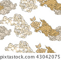 Chinese lion pattern vector background.  43042075