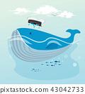 Cute whale hand drawn cartoon 43042733