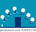 Business team holding bulb and jump over the wall 43045578