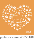 Shiba Inu silhouette on a background of dog tracks 43053400