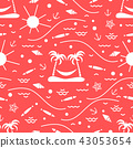 Cute seamless pattern with fish, island with palm 43053654
