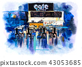 Urban scenic landscape street cafe Watercolor illustration 43053685