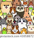 可愛的寵物動物背景無縫的顏色 43058672