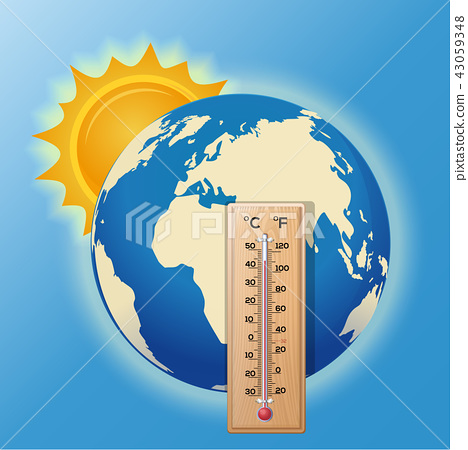 Thermometer on the background of the globe 43059348