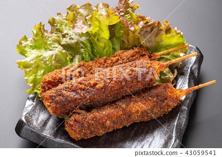 炸豬肉烤串 厚魚片 厚肉片 43059541