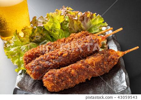 炸豬肉烤串 厚魚片 厚肉片 43059543