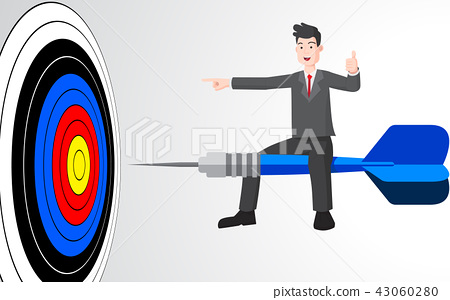 Businessman on target dart business concept 43060280
