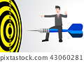 Businessman on target dart business concept 43060281