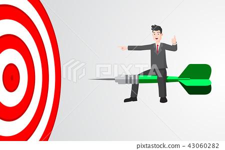 Businessman on target dart business concept 43060282