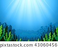 Illustration of Underwater scene with seaweed 43060456