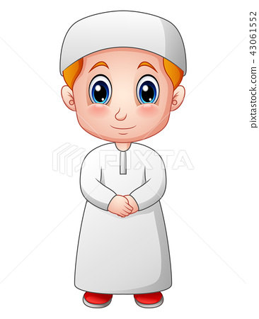Vector illustration of Happy Muslim boy cartoon 43061552