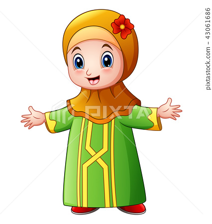 Happy Muslim girl cartoon waving 43061686