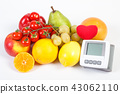 Blood pressure monitor and fruits with vegetables 43062110