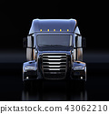 黑色北美規格燃料電池電動卡車艙前面圖像。零排放物流概念 43062210