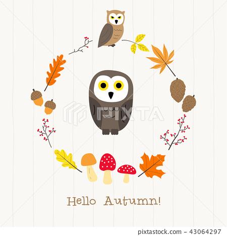 owl with autumn frame card 43064297