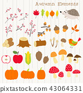 colorful autumn decoration element set 43064331
