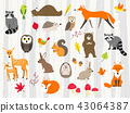 cute wild animals cartoon set 43064387