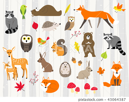 cute wild animals cartoon set 43064387