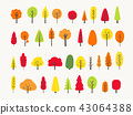 colorful tree collection autumn greeting 43064388
