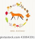 fox with autumn frame card 43064391