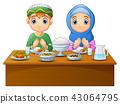 Muslim kid pray together before break fasting 43064795