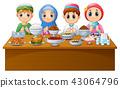 Muslim kid pray together before break fasting 43064796