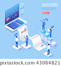 Business mobile application isometric illustration 43064821