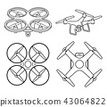 Drone silhouette icons set. Vector illustration. 43064822