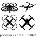 Drone silhouette icons set. Vector illustration. 43064824