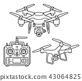 Drone line icons set. Vector illustration. 43064825