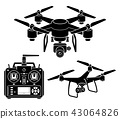 Drone silhouette icons set. Vector illustration. 43064826
