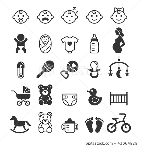 Baby icons set. Vector illustration. 43064828